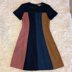 Boden Color Block Fit & Flare Short Sleeve Dress